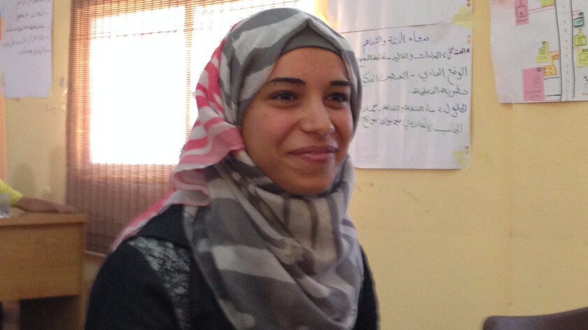 Itimad Bassam, 22, wants to set up a business recycling old clothes.