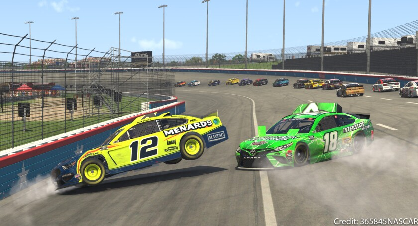 CAPTION 3 - Ryan Blaney-12 & Kyle Busch-18 in a wreck.jpg