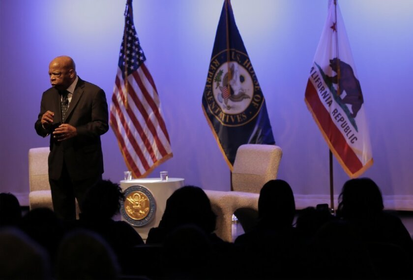 Civil rights icon Rep. John Lewis (D-Ga.) speaks at the Student Union Theatre at Cal State L.A. on Saturday.