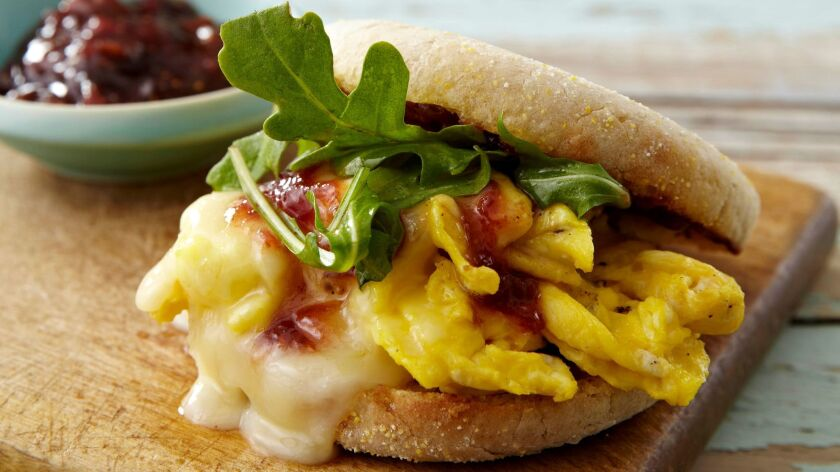 """First-Prize Breakfast Sandwich With Orange Lavender Fig Jam, created by Fanny Slater, a co-host on the Food Network series """"Kitchen Sink."""""""