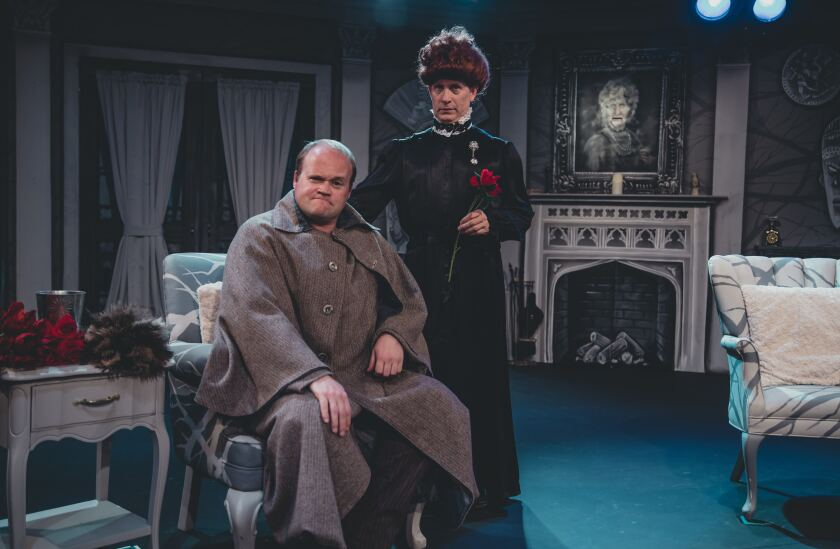 "Isaac Wade, sitting, and John Allee in ""The Mystery of Irma Vep"" at Actors Co-op."