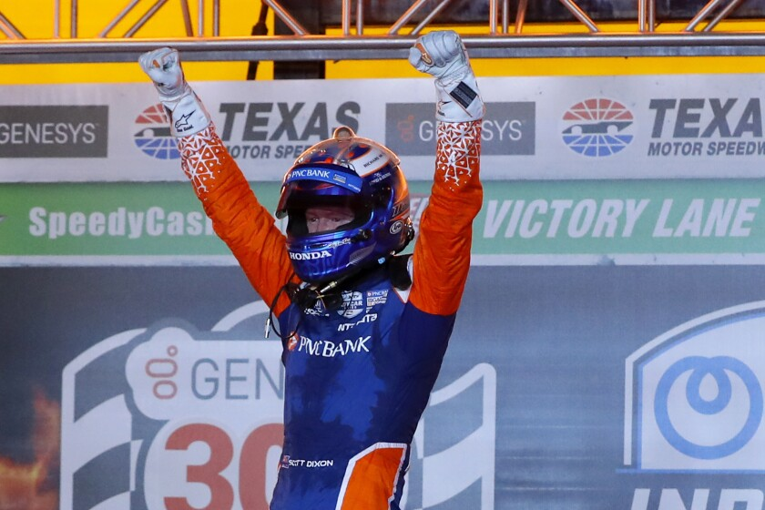 Scott Dixon reacts after winning the delayed IndyCar season opener at Texas Motor Speedway on June 6, 2020.