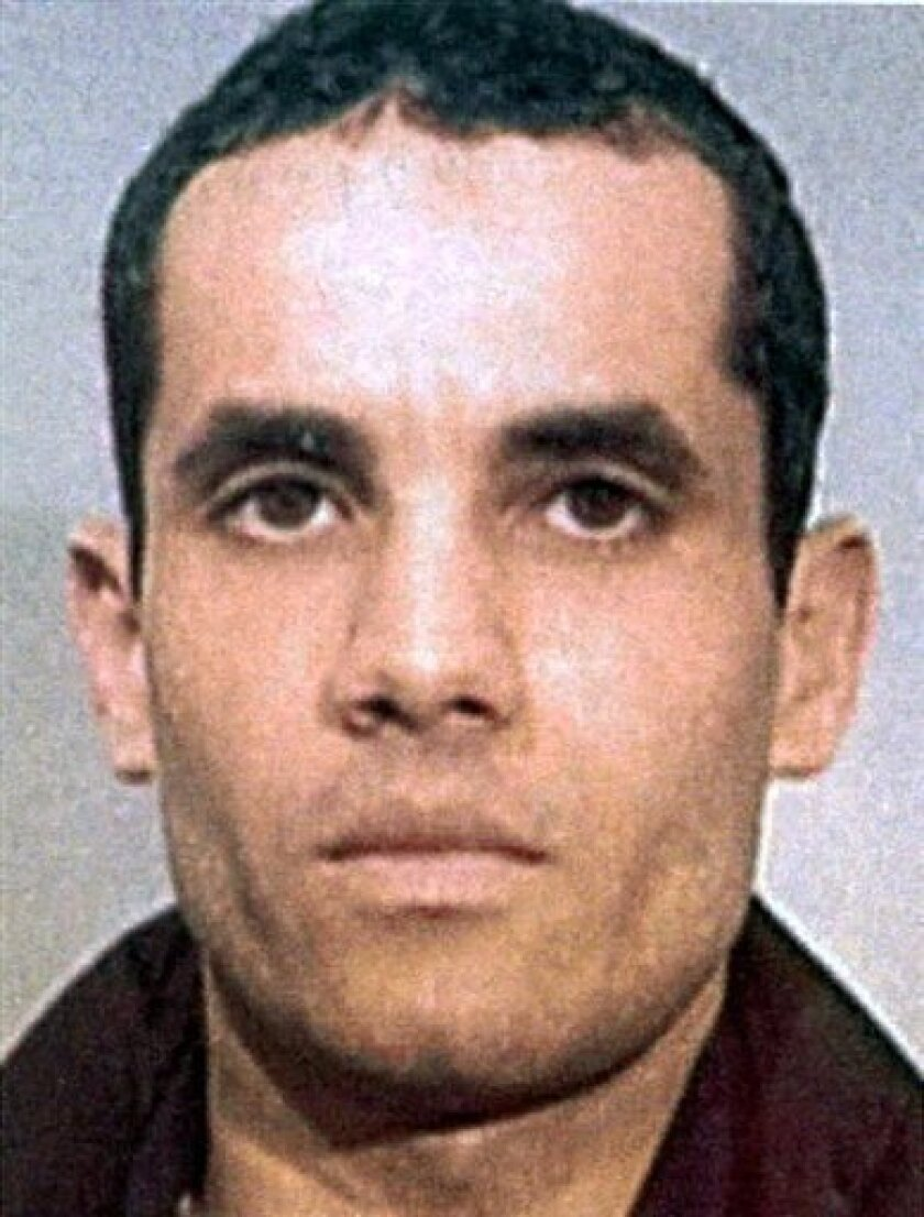 FILE - In this undated file photo, Algerian Ahmed Ressam is shown. A federal appeals court says the 22-year prison sentence is too lenient for Ressam, an al-Qaida-trained terrorist convicted of plotting to bomb Los Angeles International Airport at the turn of the millennium. (AP Photo/ Le Journal de Montreal via The Canadian Press)