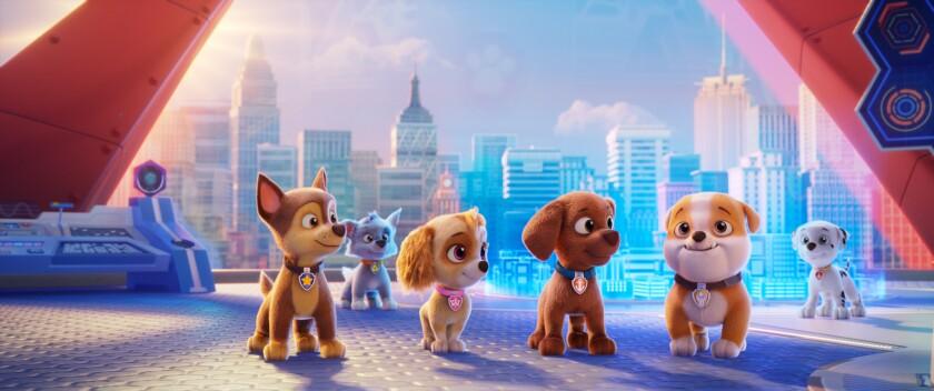 "Cartoon dogs in ""PAW Patrol: The Movie."""