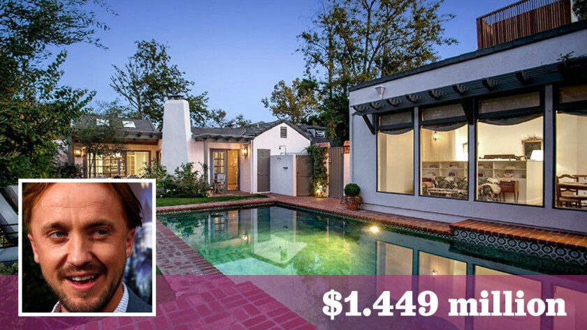 """Actor Tom Felton, known for his role as Draco Malfoy in the """"Harry Potter"""" films, has listed his home in Hollywood Hills West for sale at $1.449 million."""
