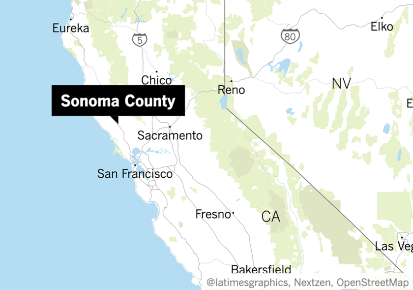 Map showing location of Sonoma County