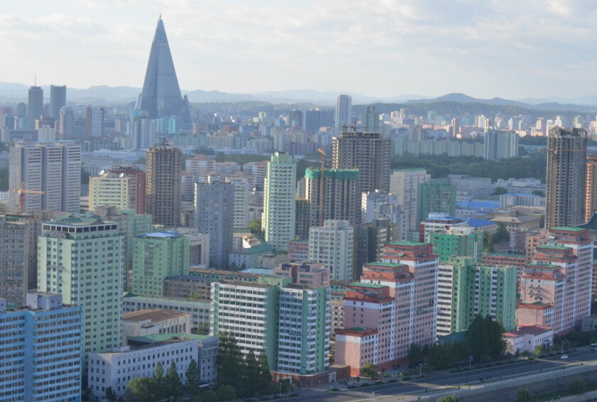 A view of the Pyongyang, North Korea, skyline with the pyramidal Ryugyuong Hotel visible.