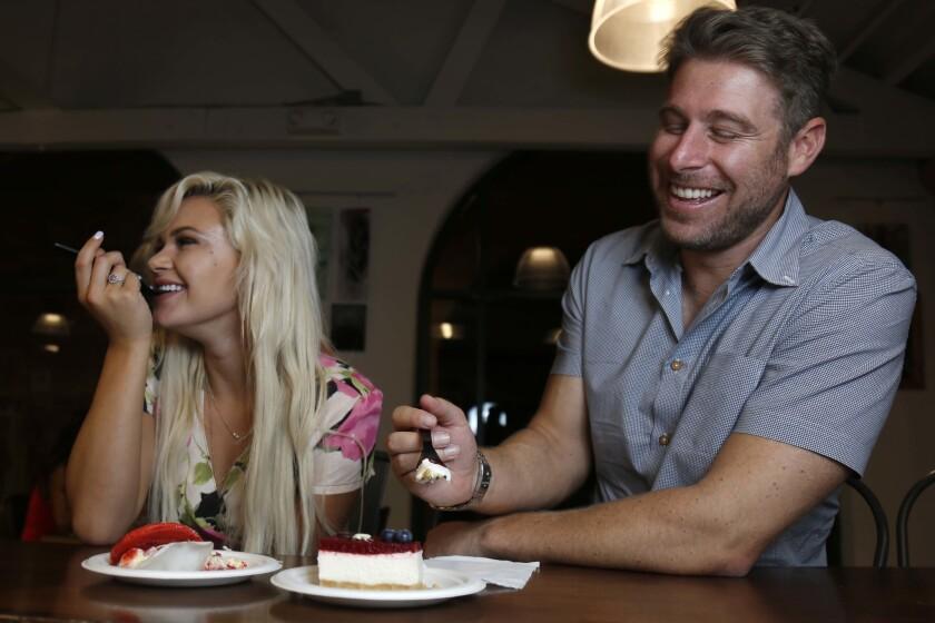 Blind Daters Megan and Brian enjoy dessert at Le Parfait Paris, in Liberty Station. (David Brooks)