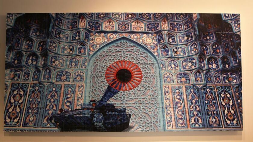 "Abdulnasser Gharem's stamp painting ""Camouflage."""