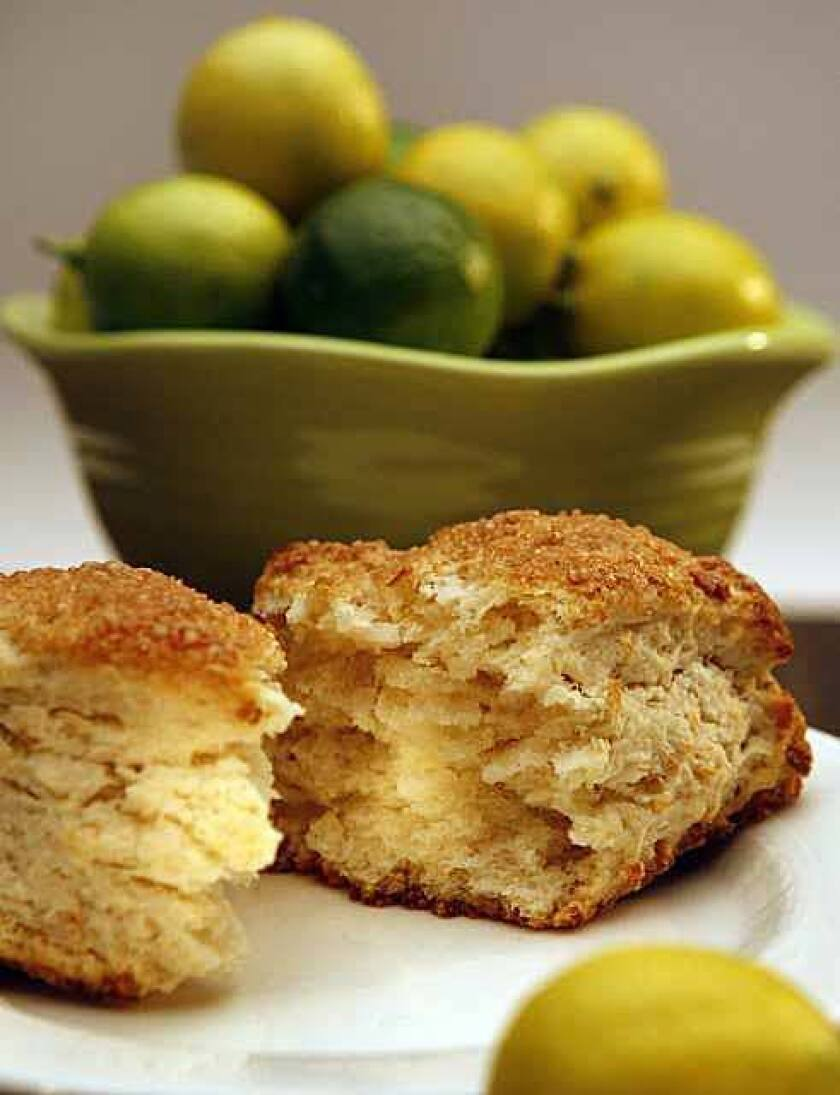 Key limes are tart, sharp and incredibly sour. Pair them with sweet coconut in a scone.