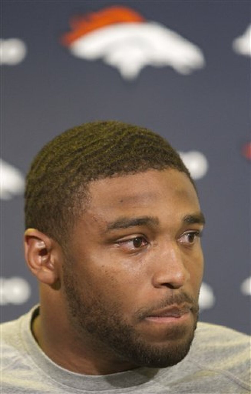 Denver Broncos linebacker Wesley Woodyard addresses the media regarding the apparent suicide of player Kenny McKinley during a news conference at the team's headquater in Englewood, Colo., on Tuesday, Sept. 21, 2010. Arapahoe County sheriff  Grayson Robinsin said the second-year pro died of an appa