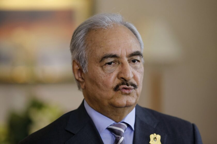 """Military chief of Libya's internationally recognized government, Gen. Khalifa Hifter, speaks during an interview with The Associated Press in Amman, Jordan, Tuesday, April 14, 2015. Hifter said in an interview that he is """"betting on a military solution"""" if U.N.-led talks fail to end a conflict that"""
