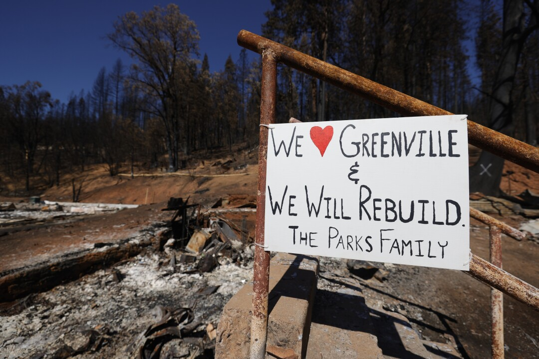 A sign is posted in front of a home that was destroyed by the Dixie Fire on September 24, 2021 in Greenville, California.