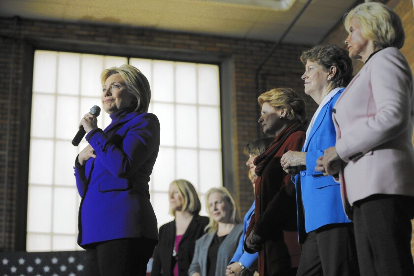 Hillary Clinton with Lilly Ledbetter in Manchester, N.H.
