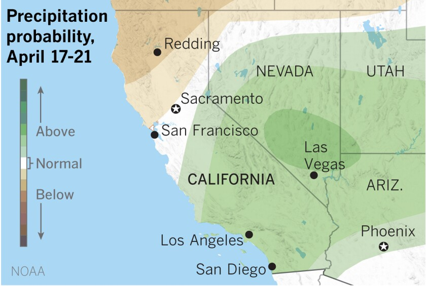 L A 6 To 10 Day Weather Forecast Wet With Normal Temperatures Los Angeles Times