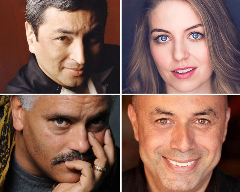 Headshots of San Diego Rep playwrights Octavio Solis, Ali Viterbi, Herbert Siguenza and Michael Gene Sullivan.