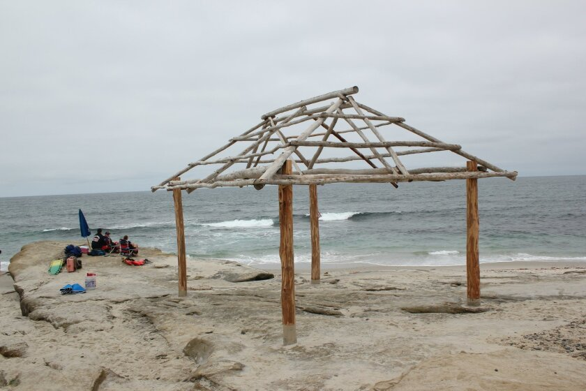 San Diego lifeguards set up a post by the newly-rebuilt shack in WindanSea.