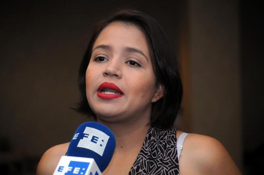 Ollivia Marcela Zuniga Cáceres, hija de la ambientalista Berta Cáceres, habla durante una entrevista con Efe hoy, jueves 13 de septiembre de 2018, en Tegucigalpa (Honduras). EFE