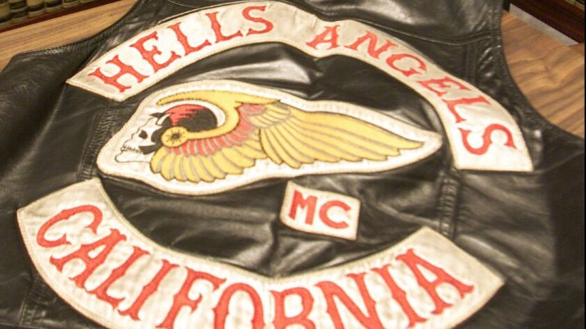 Bryan Chan 805–653–7527 –– – Hells Angels president George Christie Jr sits with the vest he was wea