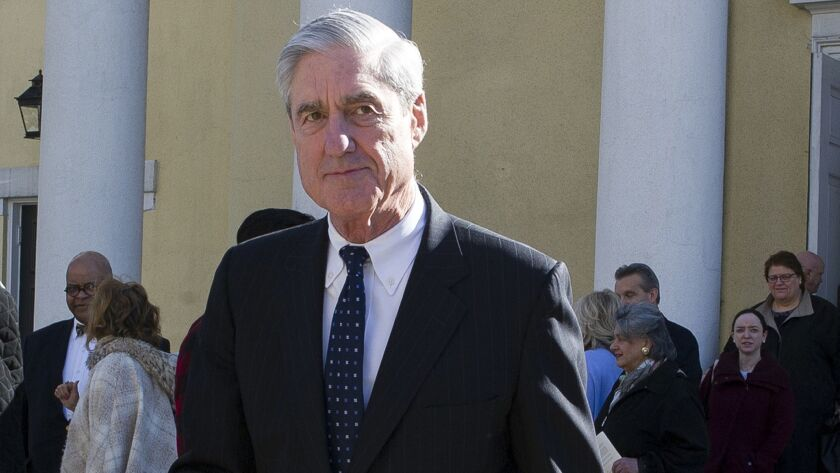 In this March 24, 2019, photo, Special counsel Robert Mueller departs St. John's Episcopal Church, a