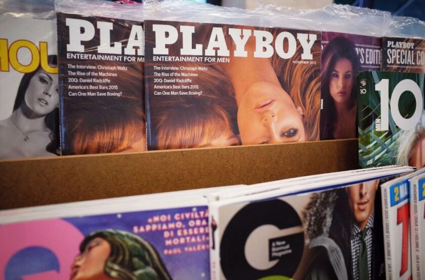 November 2015 issues of Playboy magazine are seen on the shelf of a bookstore in Bethesda, Maryland on October 13, 2015. Playboy said last year it would stop publishing nude photos in its iconic magazine.