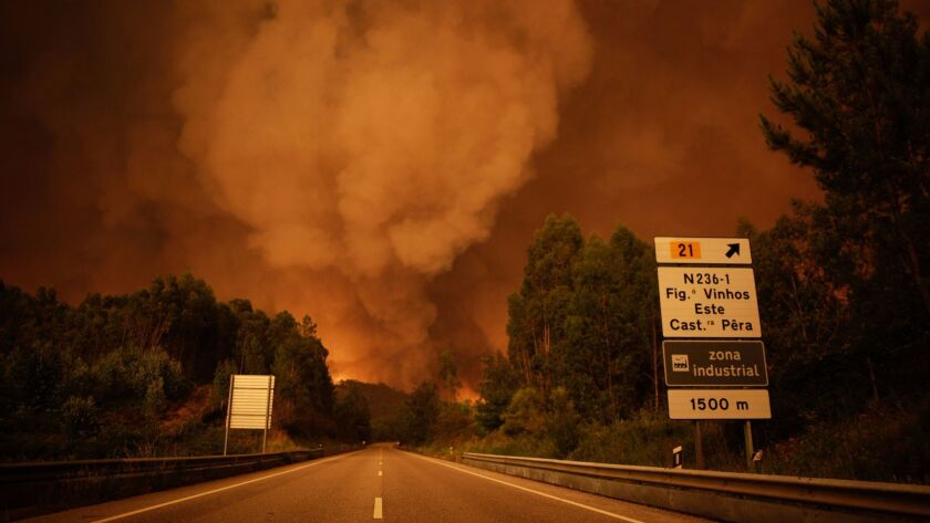 Smoke rises from fire in the Leiria District of Portugal, on June 17, 2017.