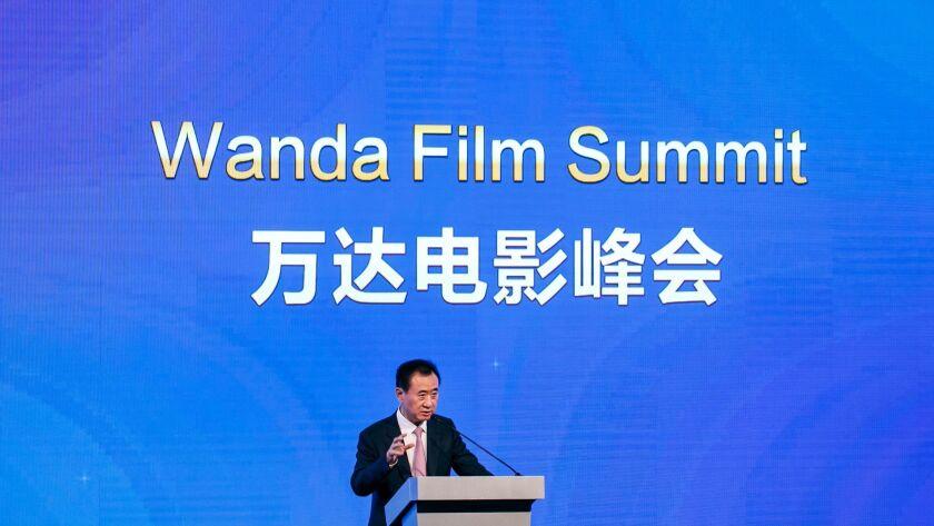 Wang Jianlin, chairman of Dalian Wanda Group, speaks in Los Angeles last year.