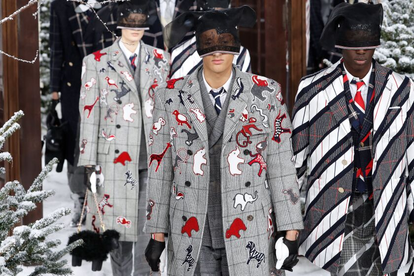 Looks from the Thom Browne fall and winter 2020 men's and women's runway collection, presented March 1 during Paris Fashion Week.