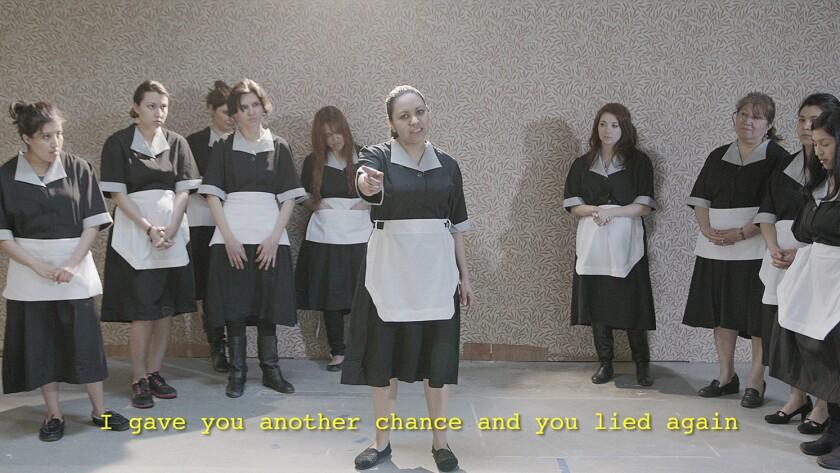 "Rodrigo Valenzuela's ""Maria TV"" features women dressed as housekeepers enacting monologues from telenovelas."