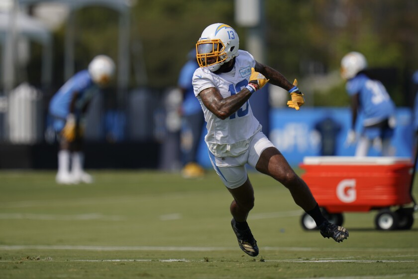 Chargers wide receiver Keenan Allen runs a route during training camp.