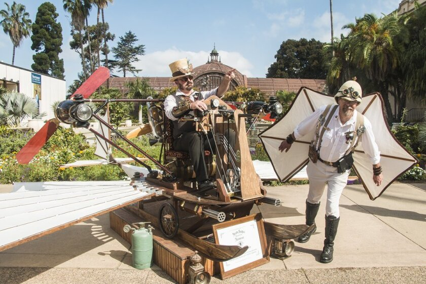 Steampunk is alive and well at the faire, where Jeb Haught and Bob Mogg show off their Flying Machine and a pair of wings at Maker Faire San Diego, held Oct. 3-4, 2015 in Balboa Park.