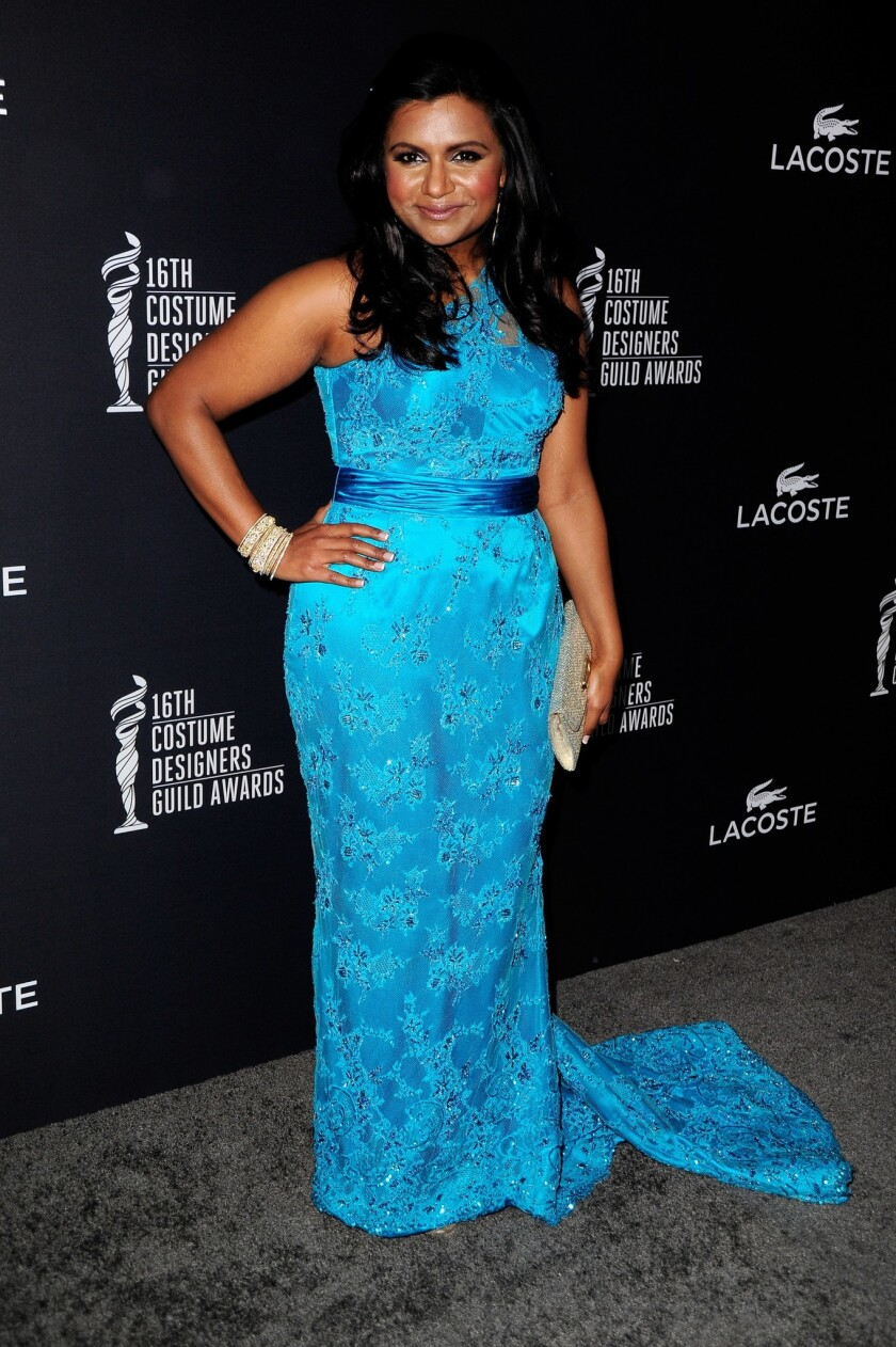 Mindy Kaling attends the 16th Costume Designers Guild Awards at The Beverly Hilton Hotel on Feb. 22, 2014 in Beverly Hills.