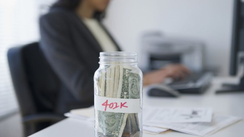 Cash in a jar marked 401k, by JGI/Jamie Grill, Getty Images ** OUTS - ELSENT, FPG, TCN - OUTS * NM,