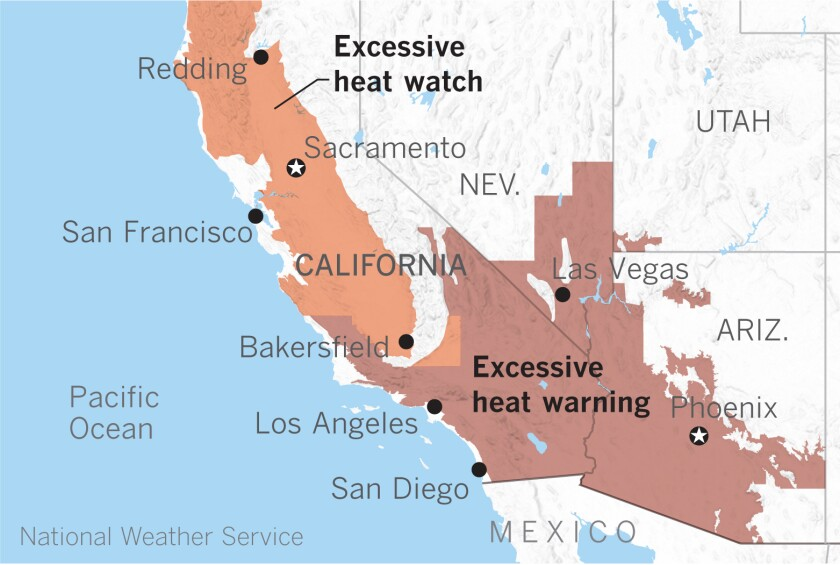High temperatures and warm nights will cause potentially excessive heat lasting into Tuesday for inland areas.