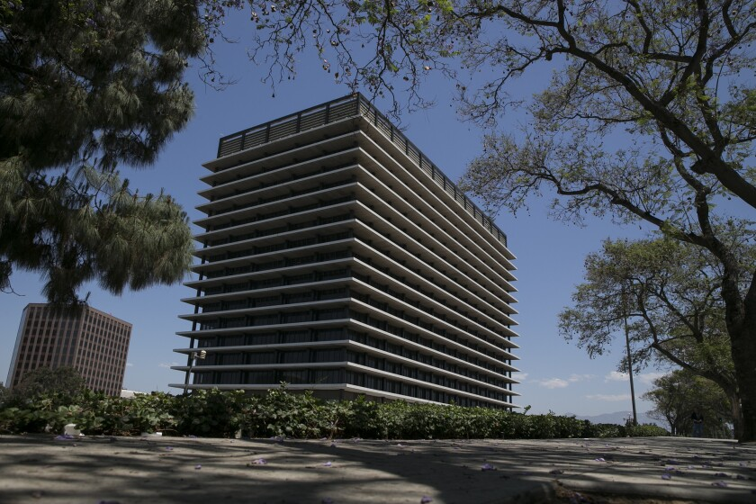 The Los Angeles Department of Water and Power's downtown headquarters. A proposed union contract als