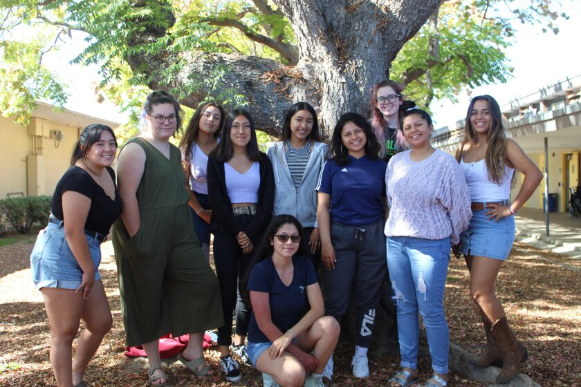 The 2020 Mission Bay High School yearbook leadership team, with chief editor Kimberly Torres kneeling in the front.