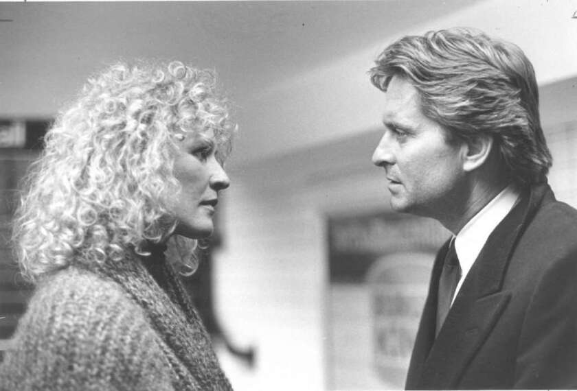 "Glenn Close and Michael Douglas in the 1987 movie ""Fatal Attraction."""