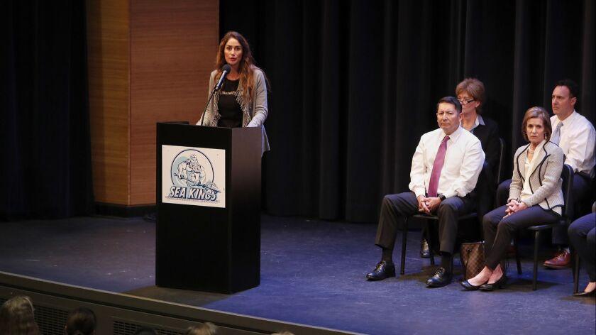 Jeanne Pepper Bernstein speaks during a second community meeting at Corona del Mar High School in Ne