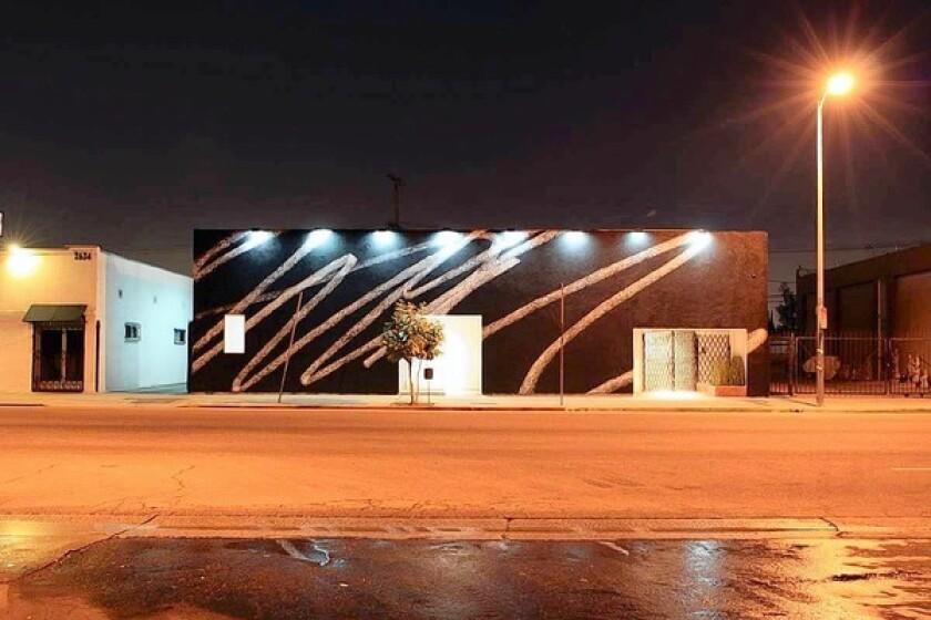 """Karl Haendel, """"Public Scribble #2"""" (2010), painted facade, 18 feet by 64 feet."""
