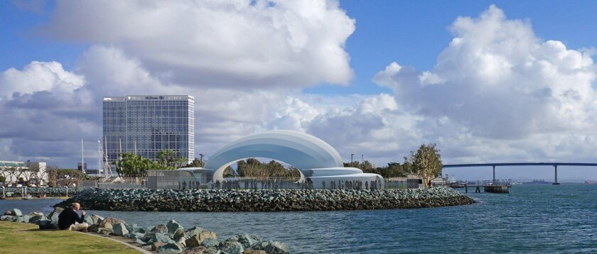 Photo illustration shows the new stage and acoustical shell planned for the proposed San Diego Symphony's permanent site for pops concerts and other events at Embarcadero Marina Park South.