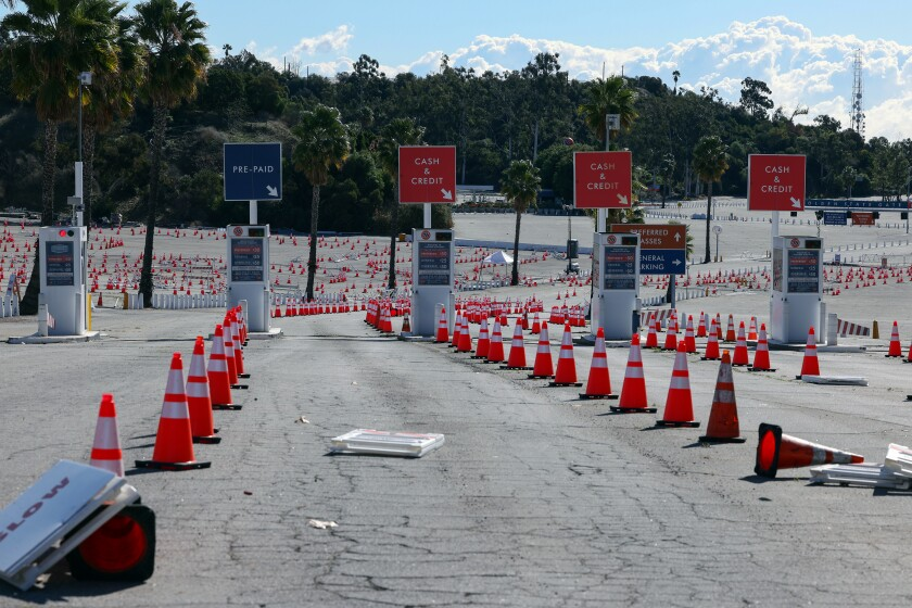 A view of the entrance to Dodger Stadium, which is temporarily shut down as a vaccination site.