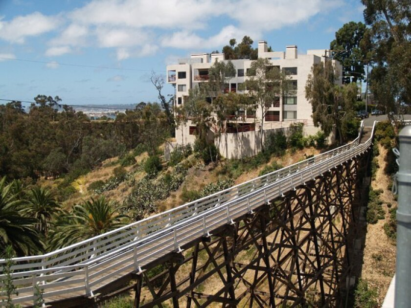 The Quince Street Footbridge overlooks Maple Canyon and is a great vantage point for scoping out the bay.