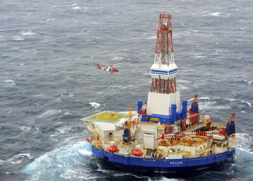 The mobile drilling rig Kulluk, used by Royal Dutch Shell during its Arctic operations off the coast of Alaska, in 2012.