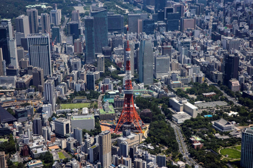 Aerial photo shows the Tokyo Tower.