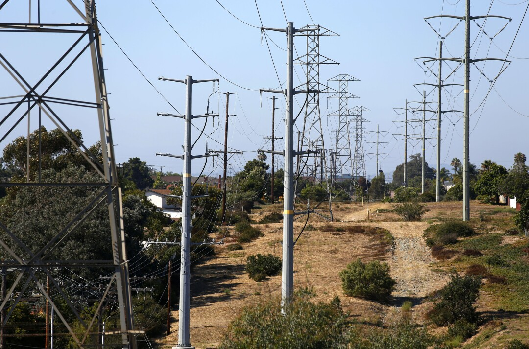 Power lines run through the Clairemont neighborhood of San Diego.