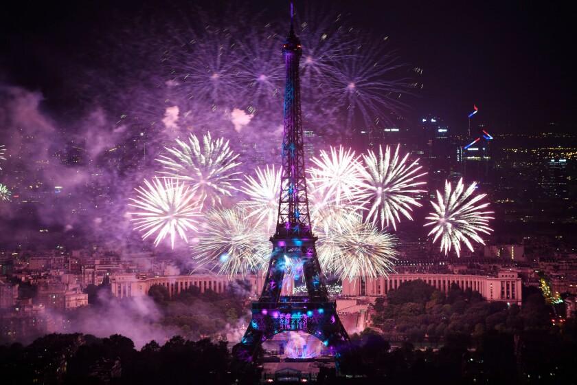 Paris Bastille Day fireworks, France - 14 Jul 2018