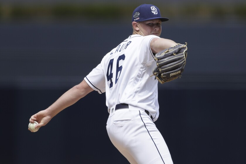 Padres pitcher Eric Lauer worked an efficient six innings against the Giants on opening day.