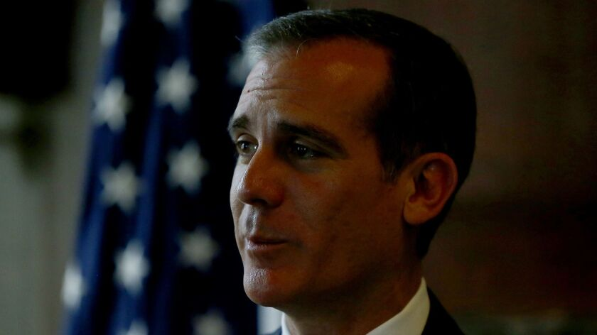 LOS ANGELES, CALIF. - APRIL 18, 2019. Los Angeles Mayor Eric Garcetti releases his 2019-2020 budget
