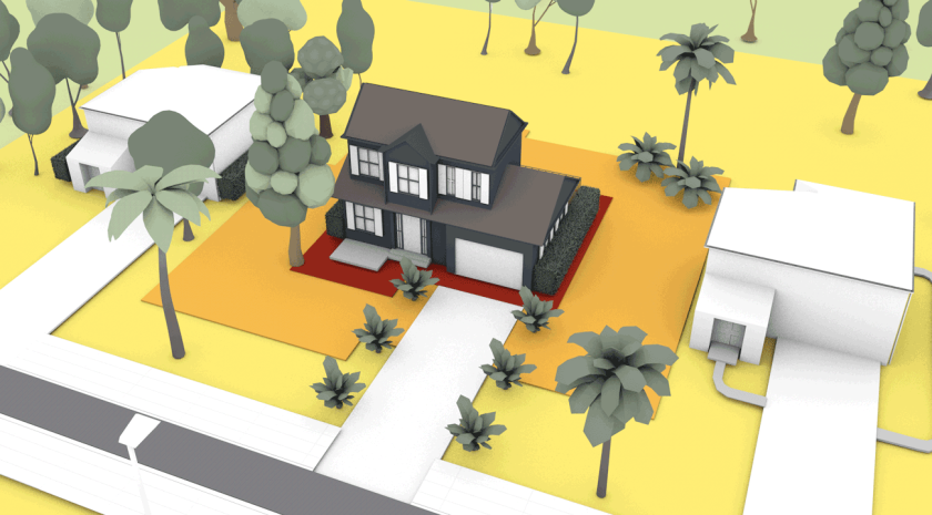 This illustrations shows houses