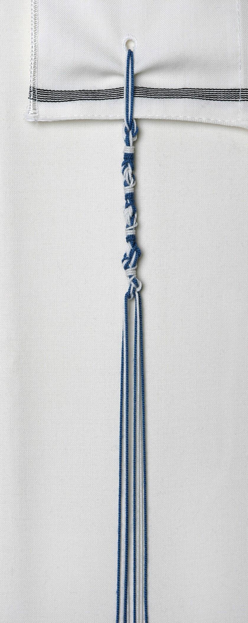 """Borlas de Tzitzit con hilos teñidos en tekhelet (""""azul bíblico"""") producidos por caracoles Murex trunculus. Eugene Weisberg."""
